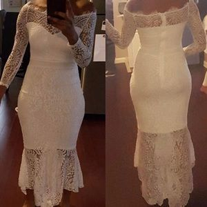 Dresses - Solid Formal Lace Maxi Dress